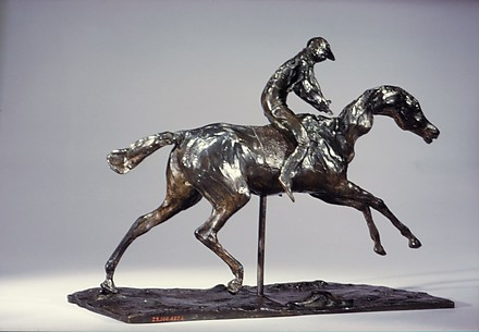 Horse with Jockey; Horse Galloping on the Right Foot, the Back Left Foot Only Touching the Ground