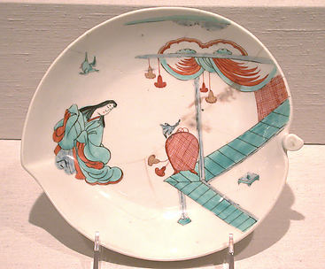 Dish with Japanese court woman and birds