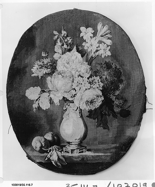 Flowers in a Vase and Two Plums