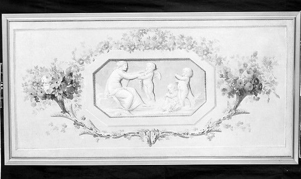 Nymphs and cupids in an octagonal medallion