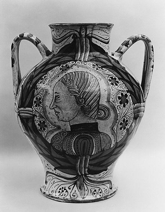 Two-handled storage jar with the Orsini arms and the profile head of a man