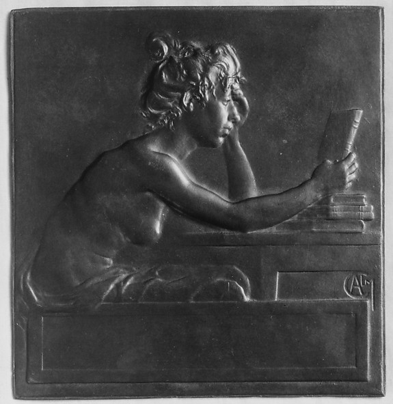 "Known as ""The Book Cover"", enlargement of a plaquette-medal for the Societé des Amis des Livres"