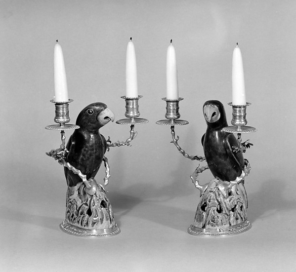 Pair of parrots mounted as two-branch candelabra