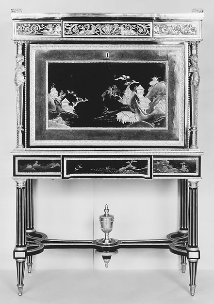Drop-front secretary on stand (Secrètaire à abattant or secrétaire en cabinet) (one of a pair) (part of a set)