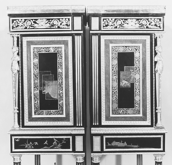 Drop-front secretary on stand (Secrètaire à abattant or secrétaire en cabinet) (one of a pair) (part of a set)
