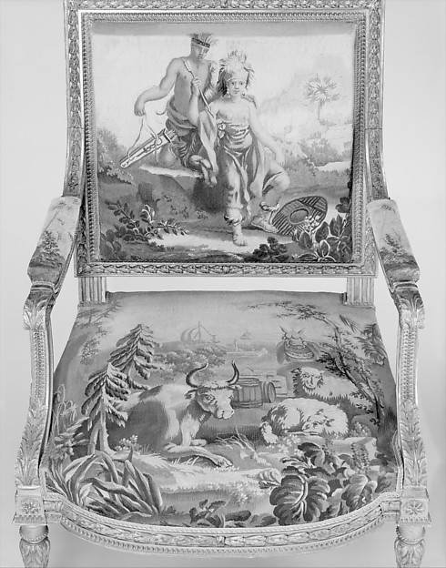 Set of twelve armchairs with allegories of the four continents