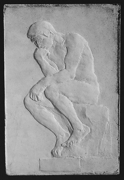 Positive and negative molds of a relief after Rodin's Thinker