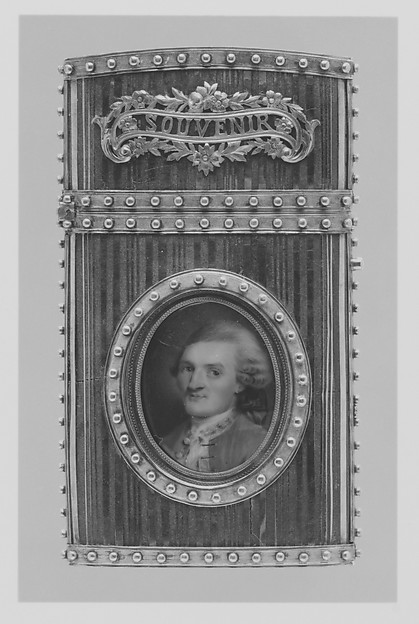 Fascinating Historical Picture of French Painter with Souvenir with portrait of a man in 1778