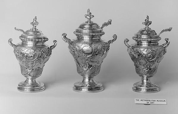Set of three tea caddies with spoons