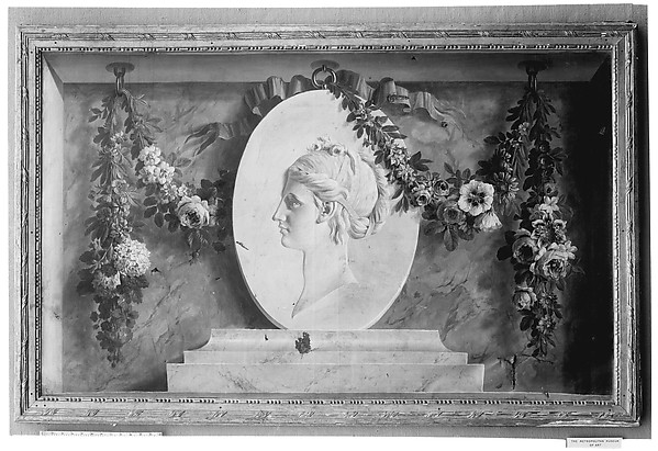 Female bust on an oval medallion draped with a garland (one of a pair)