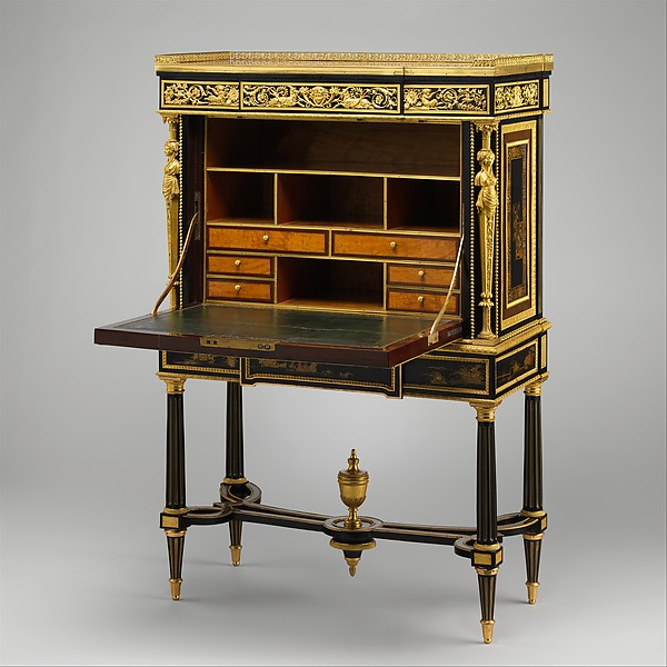 Drop-front secretary on stand (Secrètaire à abattant or secrétaire en cabinet) (one of a pair)