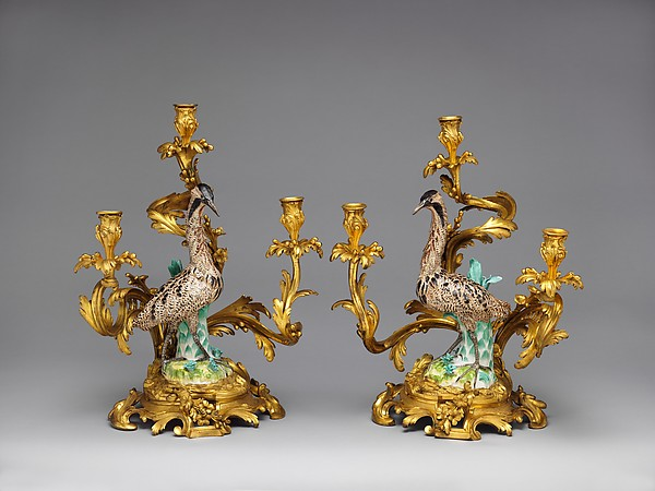 Three-light candelabra (candélabra or girandole) (one of a pair)