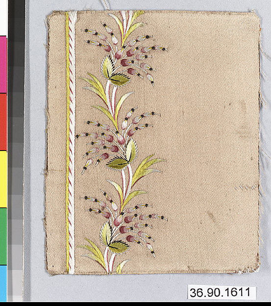 This is What French culture and Embroidery sample for a mans suit or waistcoat Looked Like  in 1785