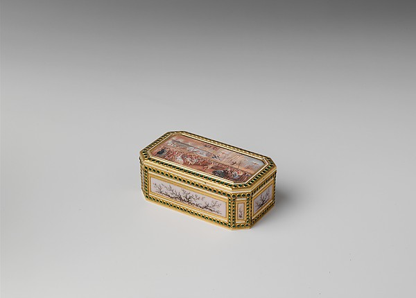 Snuffbox with theatrical scenes of a rope dancer and a puppet show