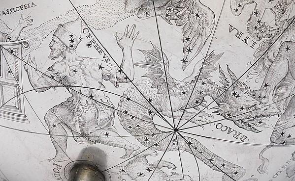 Celestial globe with clockwork
