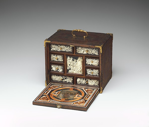 Fascinating Historical Picture of Bernard Salomon with Miniature collectors cabinet in 1600