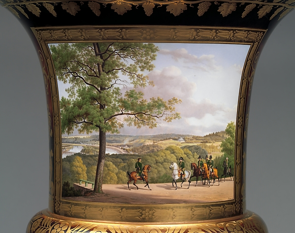 Medici vase with a scene of the park at Saint-Cloud (one of a pair)