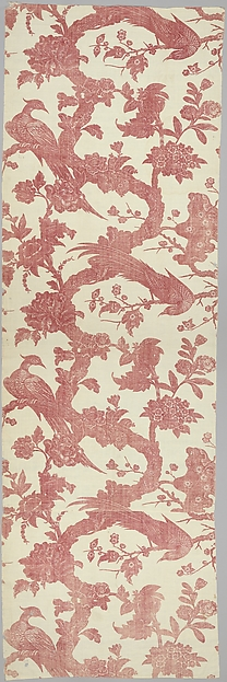 Piece with pheasants and exotic flowers