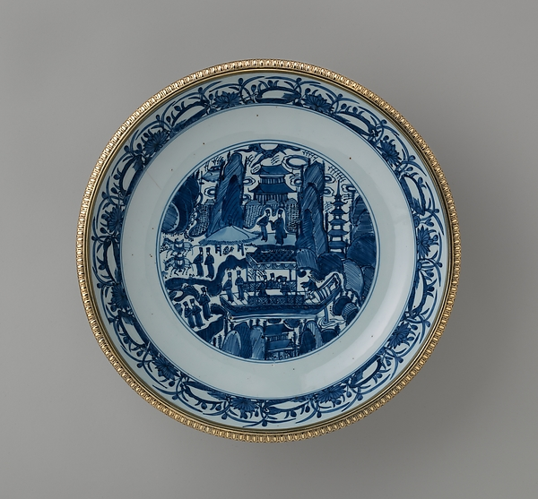 Mounted dish with figures in a landscape (part of a set)
