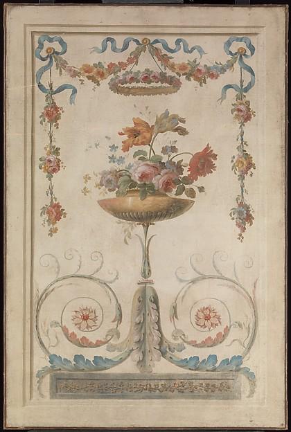 Vase of Flowers Resting on Foliate Scrolls