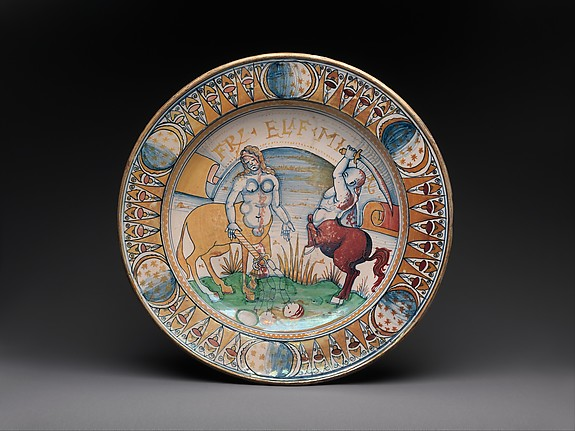Plate depicting a centaur and a centauress