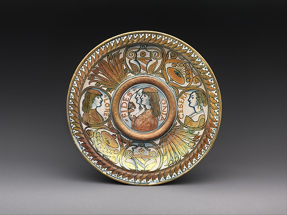 Plate or ewer stand with double portraits