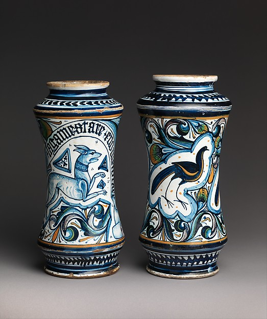 Storage jar (albarello) depicting a dog