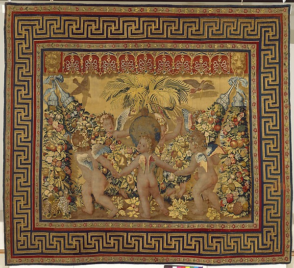 Six Putti Dancing Around a Globe and a Palm from a set of the Giochi di Putti