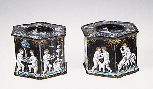 Salt with scene of infant harvesters (one of a pair)