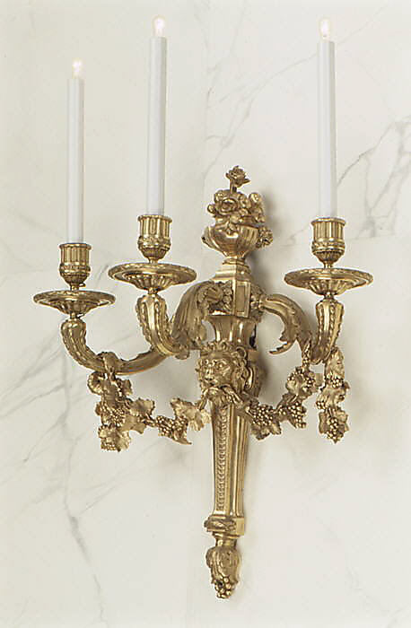 Set of four three-light sconces (bras de lumière)