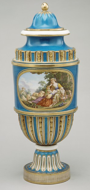 Vase (Vase cannelés à bandeau) (one of a pair)