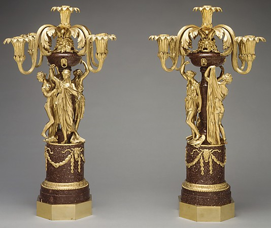 Pair of five-light candelabra