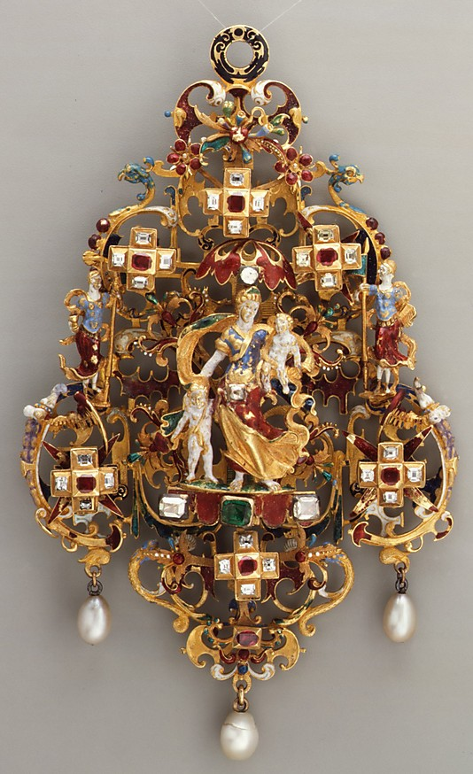 Pendant with Charity and her children