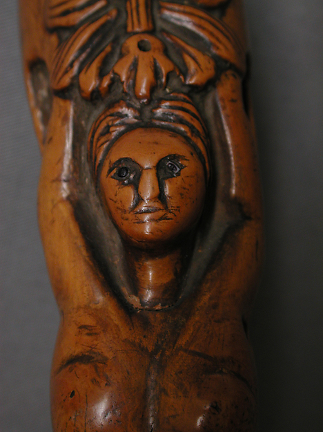 Walking Stick with a female nude and a Breton sabot on the handle