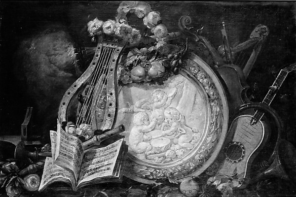 Putti Musicians in a Medallion, Surrounded by Musical Attributes, Flowers, and Fruit