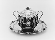 Sugar bowl with cover and tray