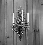 Pair of three-light wall brackets