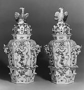 Covered vase for potpourri (one of a pair)