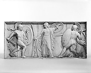 Achilles about to kill Hector, Pallas Athena between them