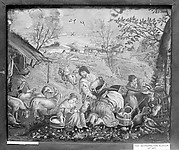 Bucolic scene in spring with goat milking (one of a pair)