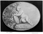 Putto on a pedestal against background of verdure