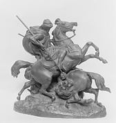 Two Mounted Arabs Killling a Lion