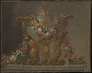 Perfume-burner supported by baby tritons and garlanded with flowers