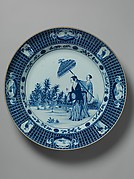 Plate depicting a lady with parasol