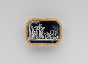Snuffbox with miniatures representing the Diversions of Love and dancing figure