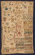 Sampler with geometric patterns, lettering, and various motifs