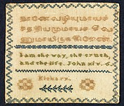 Sampler with biblical verse in Tamil and English