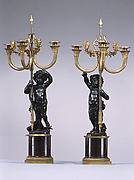 Pedestals with five-light candelabra