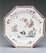 Plate with quail and peonies