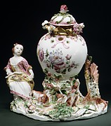 Potpourri Vase with Girl and Dog